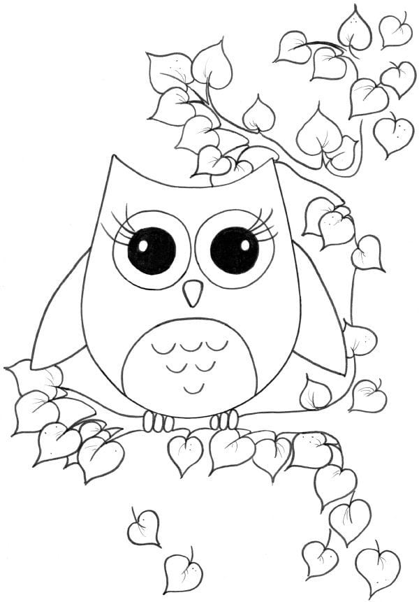 Owl Coloring Pages For Kids Pinteres 2
