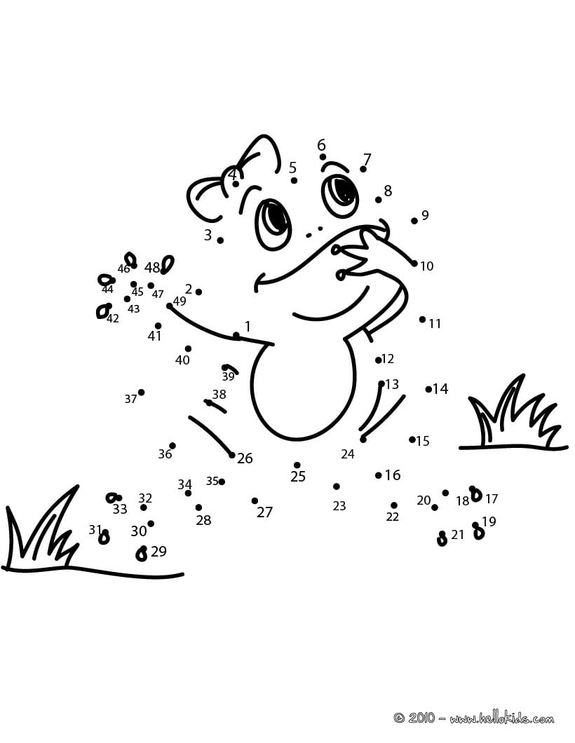 Frog Dot To Dot Game Coloring Pages