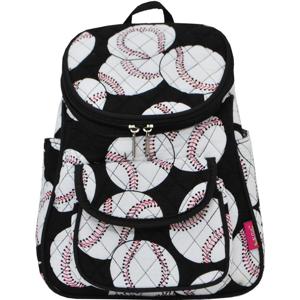 Baseball Print Mini Quilted Backpack