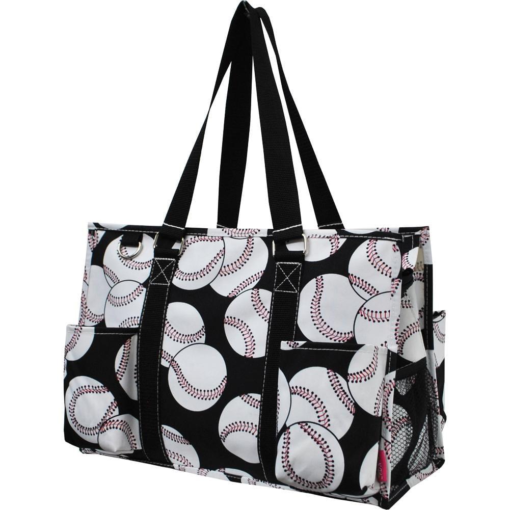 Baseball Print Organizer Tote Bag