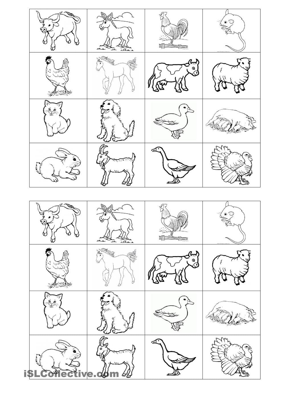 Memory Game On Farm Animals