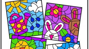 Color By Number Spring Printables