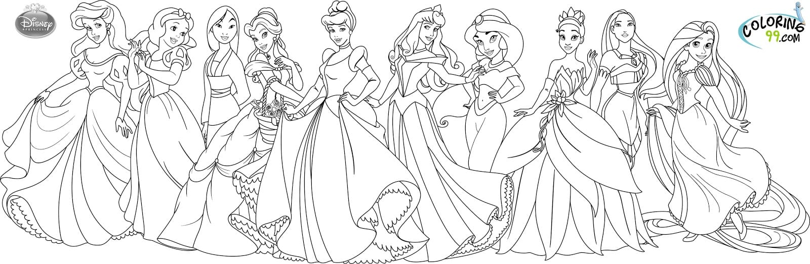 28+ Collection Of All Disney Princess Coloring Pages