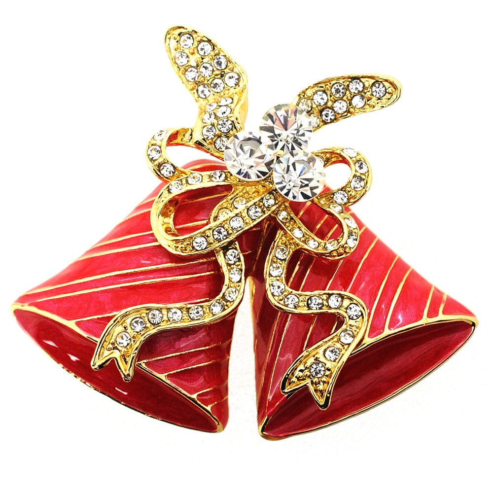 Red Christmas Bell Bow Crystal Pin Brooch
