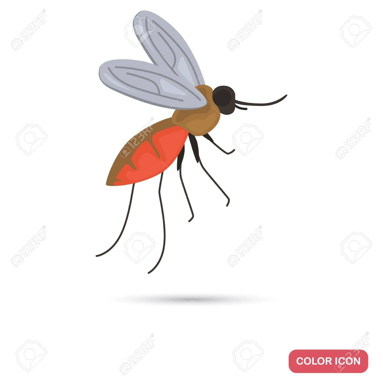 Mosquito In Flight Color Flat Icon Isolated On Plain Background