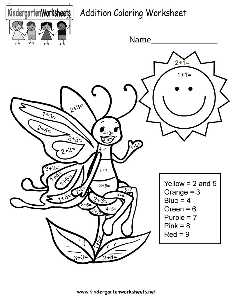 Addition Coloring Worksheet