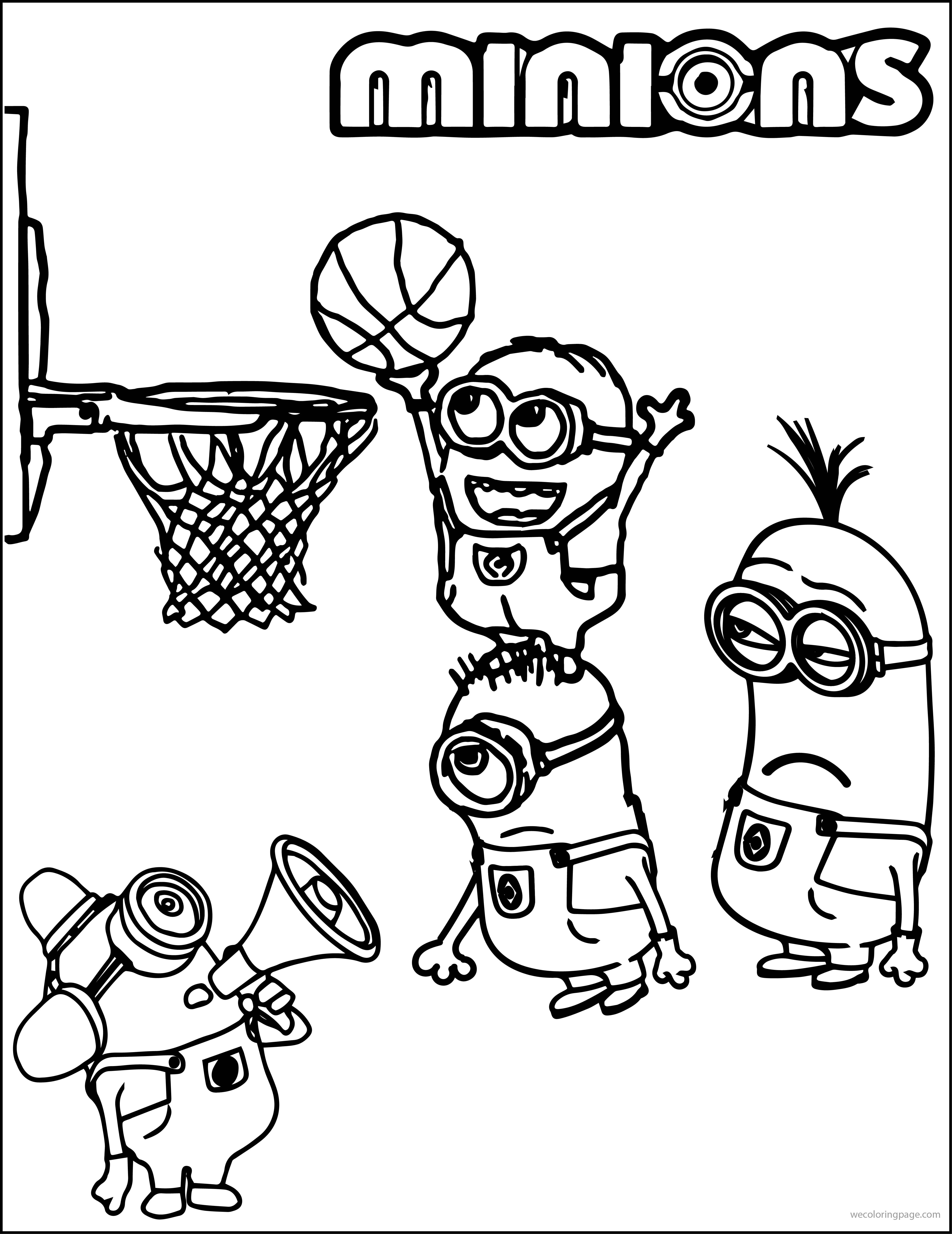 Basketball Playing Coloring Page Minion Pages