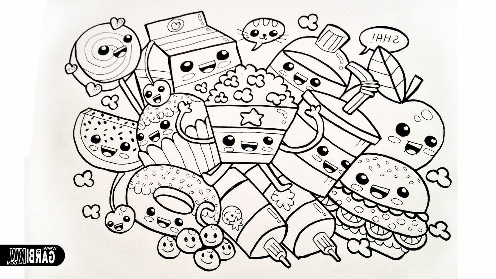 Beauteous Cute Food Coloring Pages In Snazzy Fresh Many Page Foods