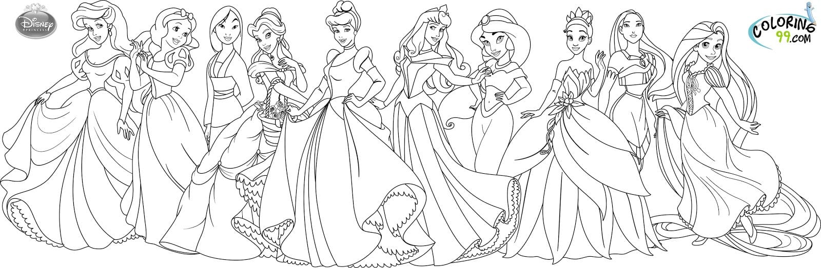 Best Disney Princess Coloring Pages Free Download Printable
