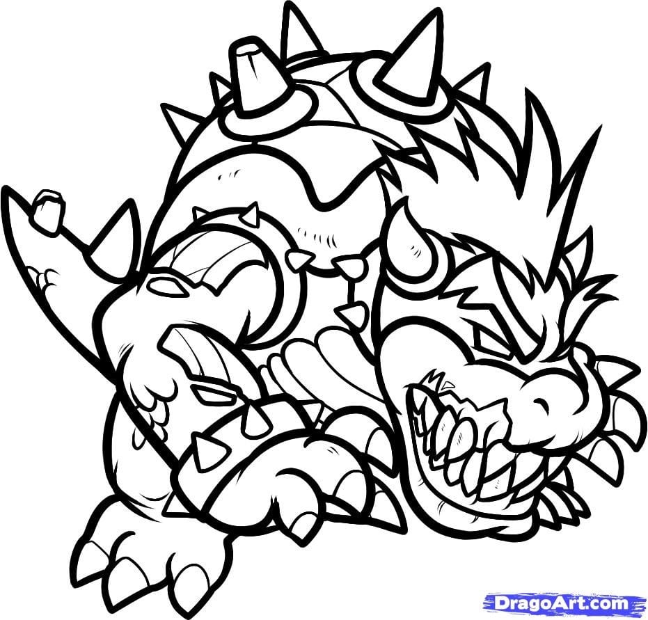 Bowser Coloring Page Mario Jr Pages On In