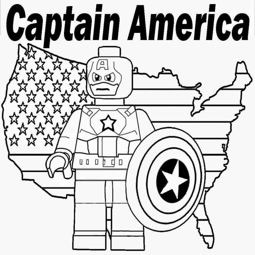 Captain America Lego Free Coloring Page Kids Movies With Marvel