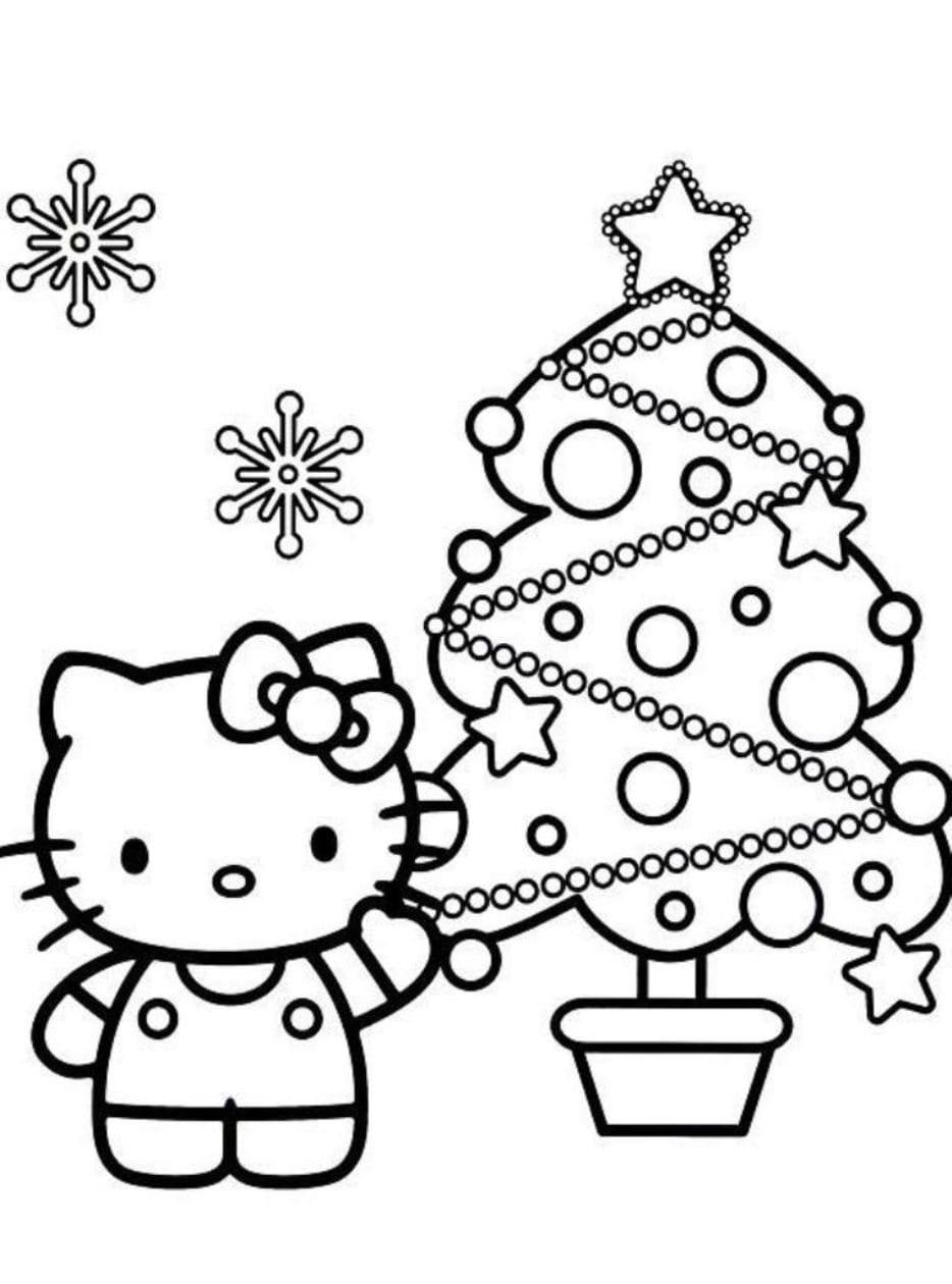 Hello Kitty And Christmas Tree Free Coloring Page • Christmas