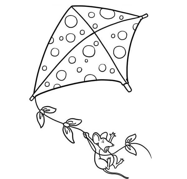 Clipart Kite Colouring Sheet