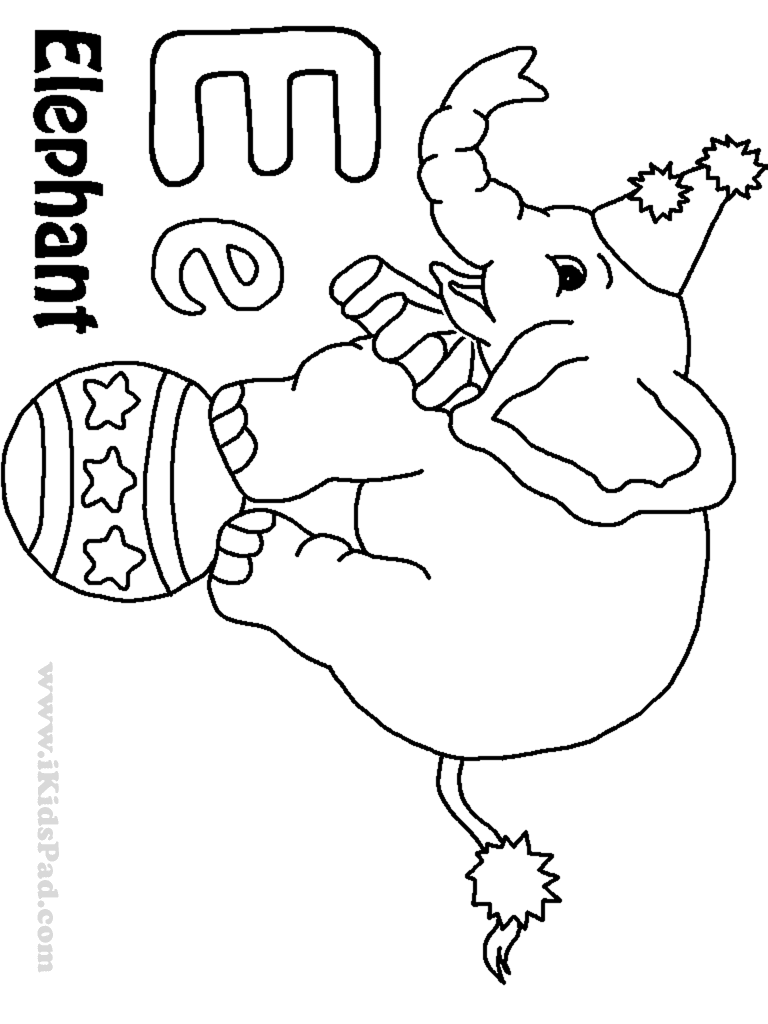 Competitive Letter E Coloring Sheet Page And Is For Elephant