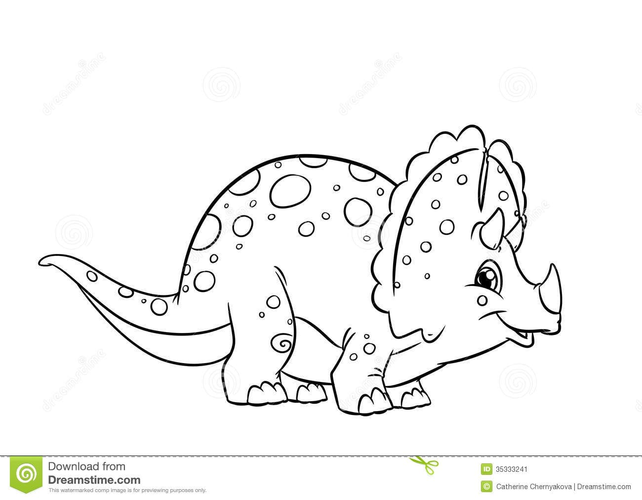Dinosaur Triceratops Coloring Pages Stock Illustration