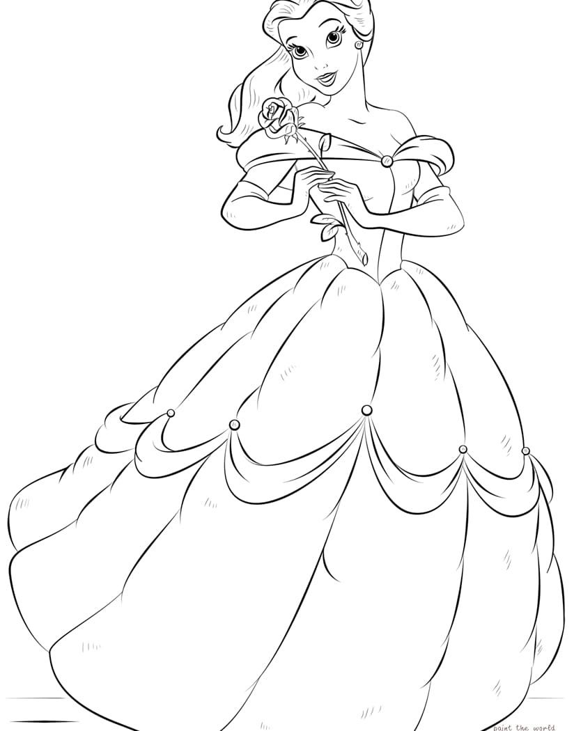 Unique Disney Princess Belle Coloring Pages Design
