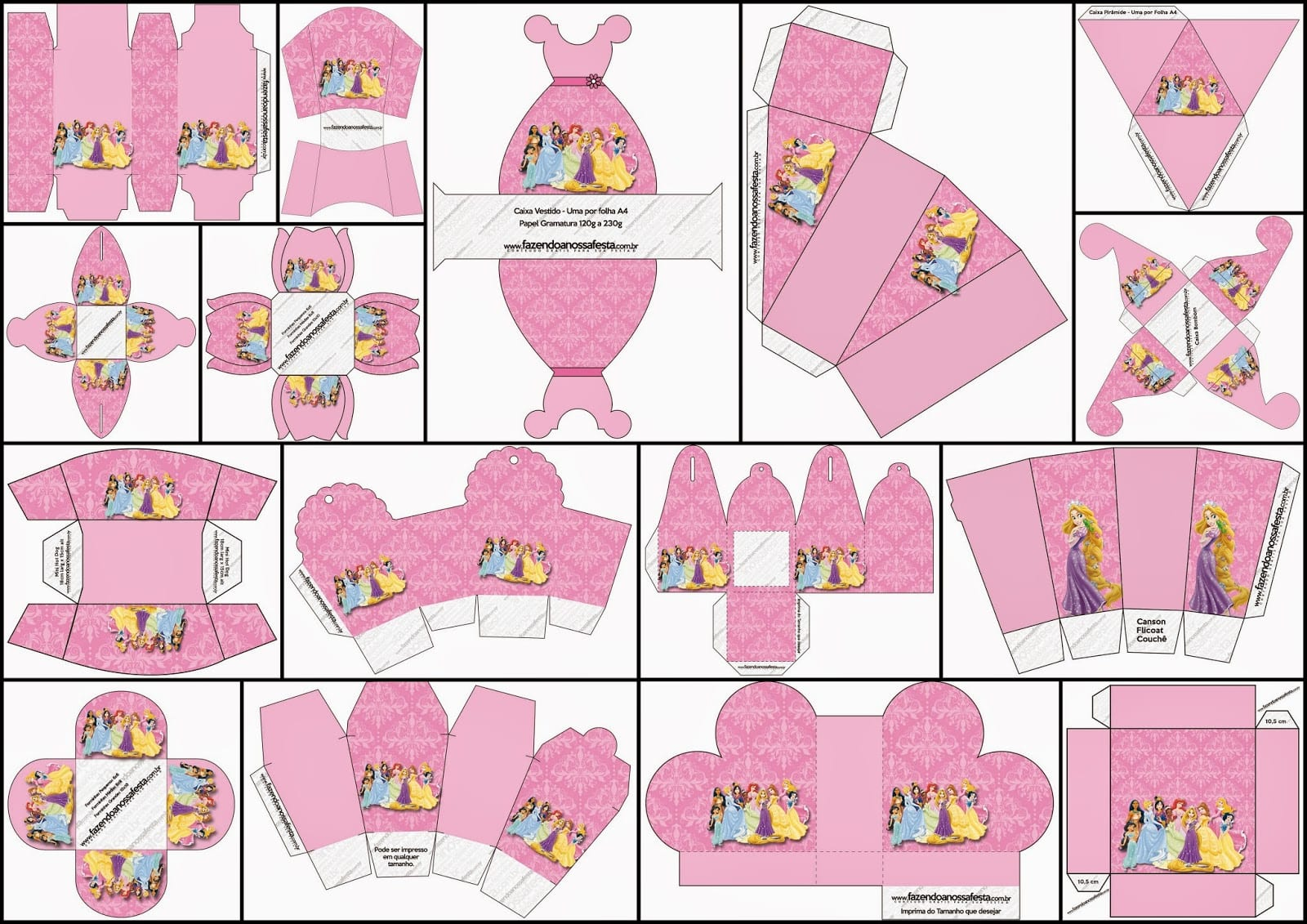 Disney Princess Party  Free Printable Boxes