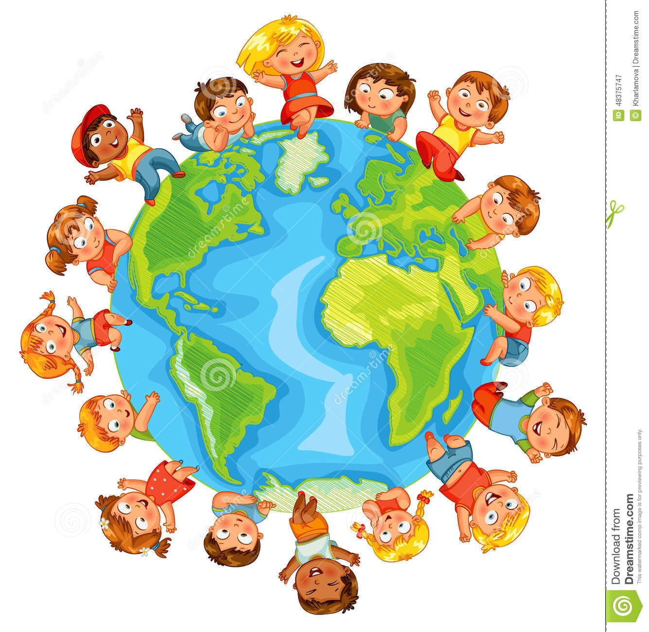 Earth Day  Cute Little Kids Stock Vector
