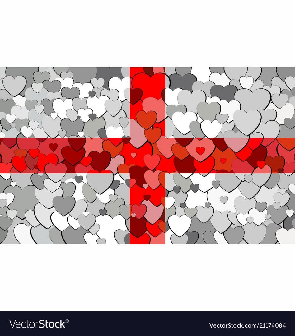 English Flag Made Of Hearts Background Royalty Free Vector