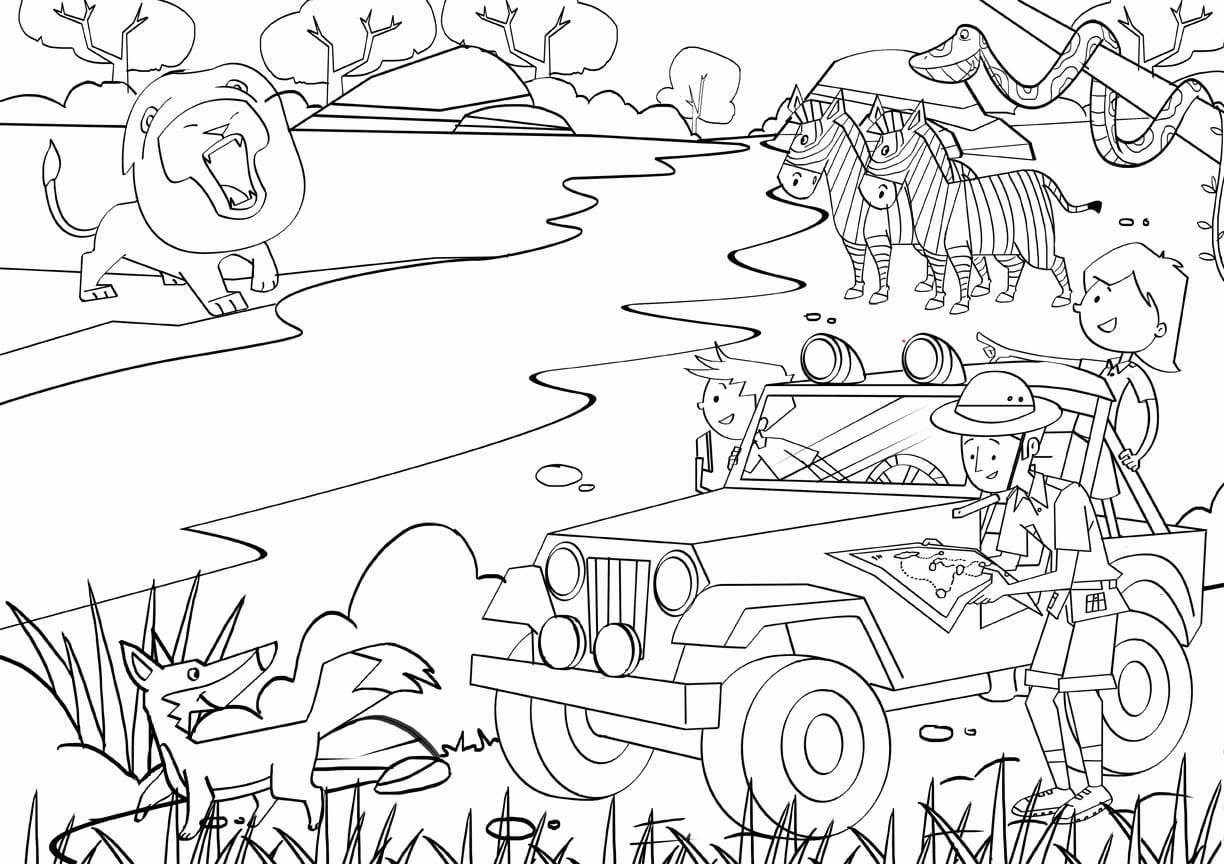 Exploit Safari Coloring Pages Scene Adult Az 14573 And