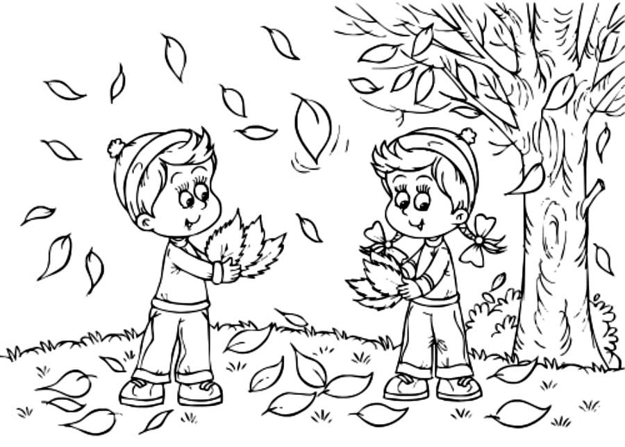 The Autumn Fall In Autumn Coloring Pages
