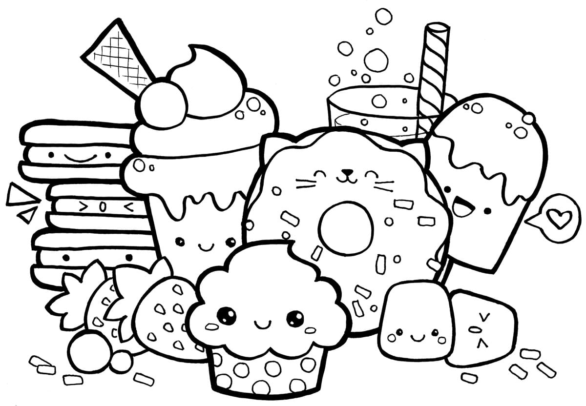 Cute Food Coloring Pages Group Worksheet In Page