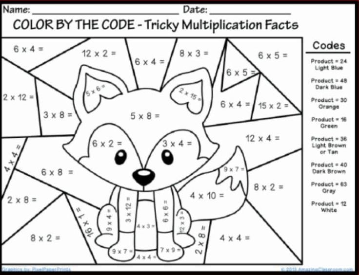 Free Multiplication Coloring Worksheets Grade 4  787047