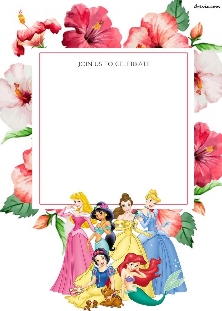 Free Printable Disney Princess Floral Invitation Template