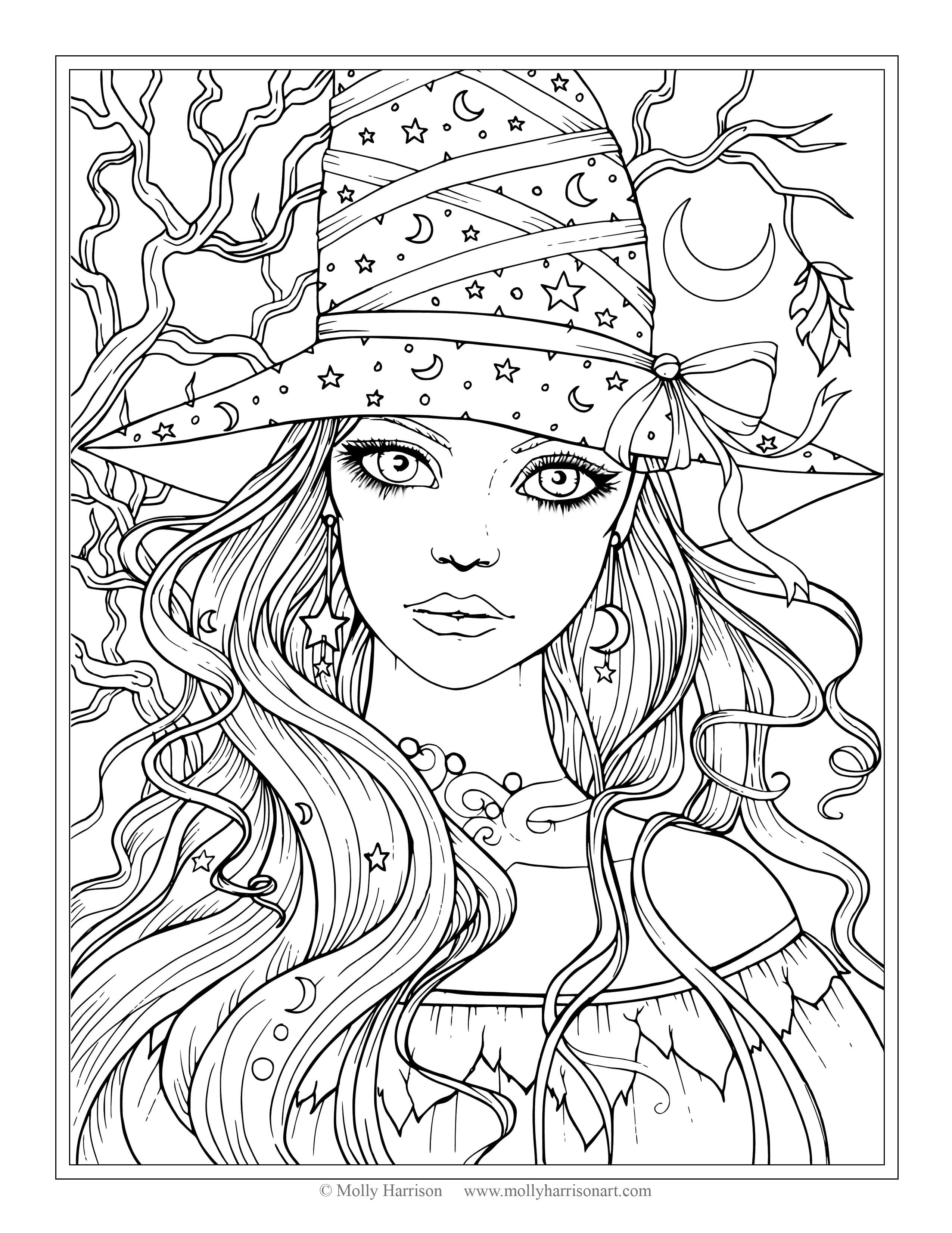 Free Witch Coloring Page Halloween Coloring Pages By Molly