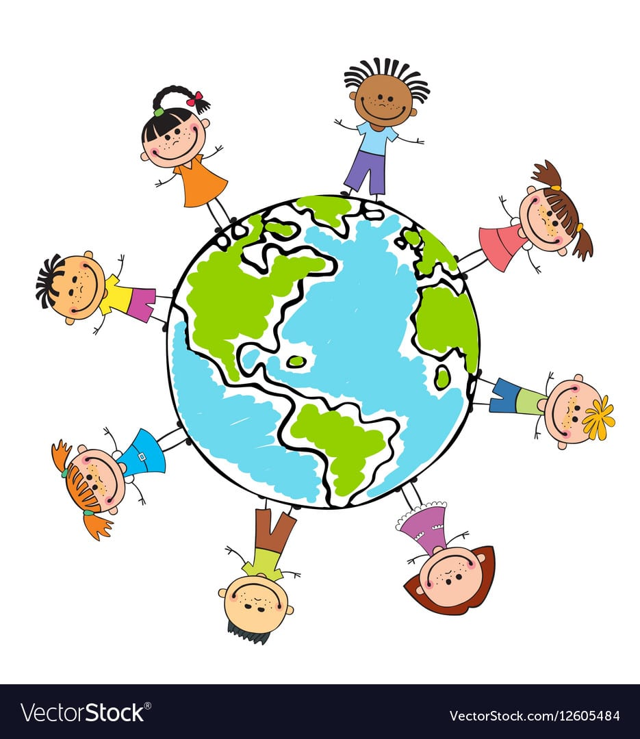Globe Kids Children Earth Day Royalty Free Vector Image