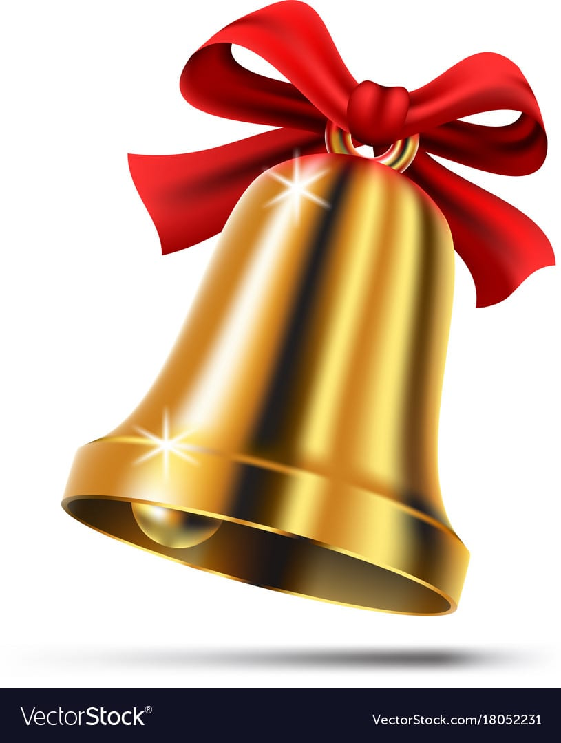 Gold Christmas Bell With Red Ribbon Bow Royalty Free Vector