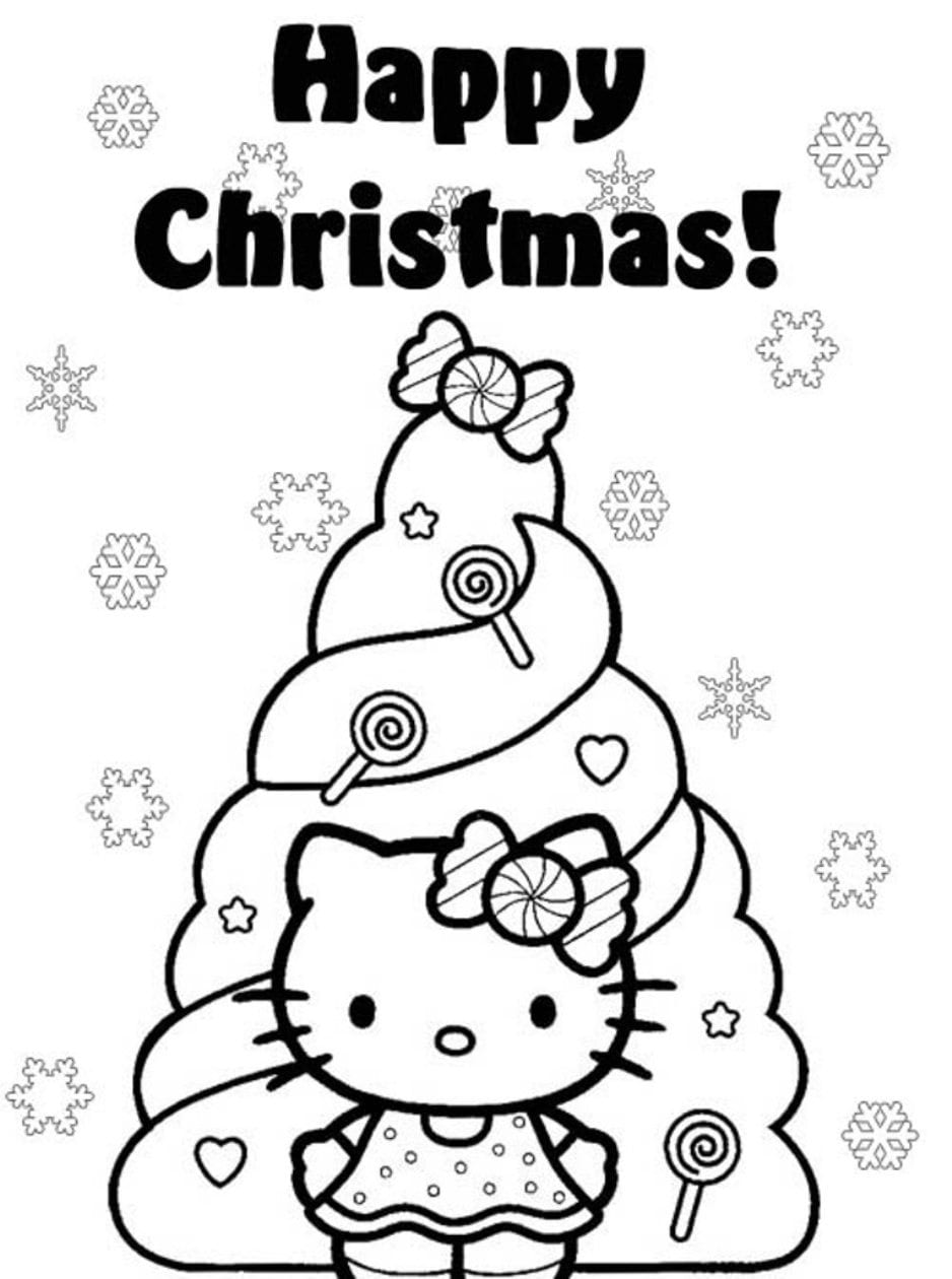 Hello Kitty Christmas Coloring Pages Coloring Pages Inside