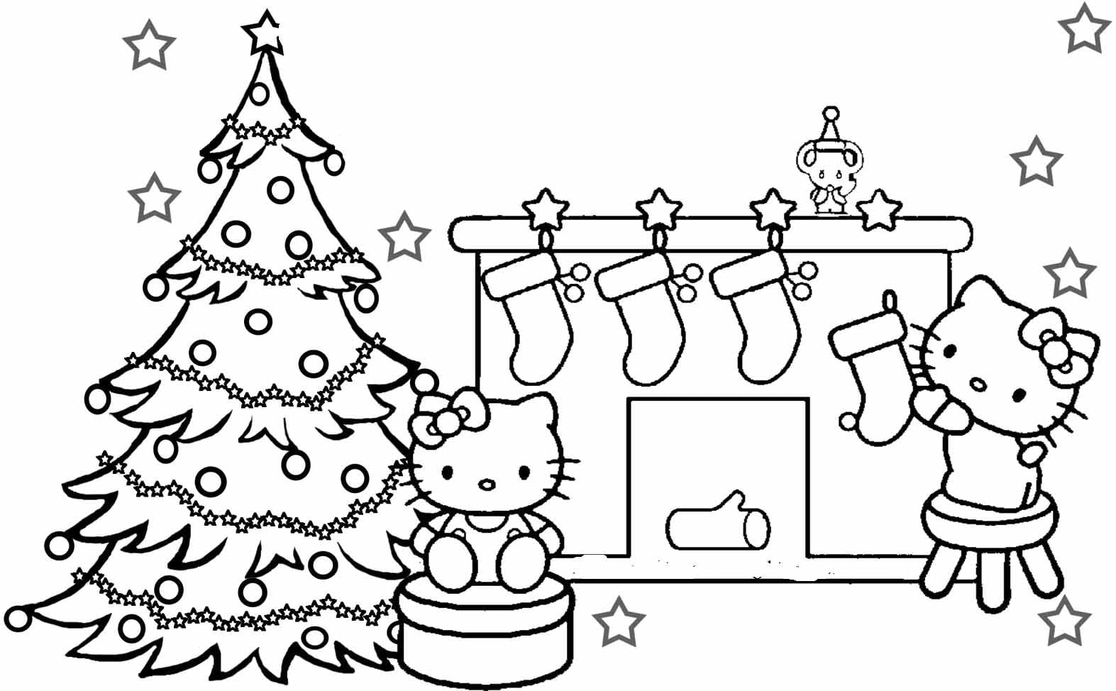 Hello Kitty Coloring Pages Christmas For Printable Kids