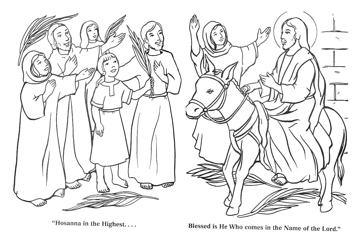 Hosanna In The Highest Palm Sunday Coloring Pages On Page