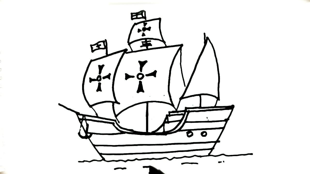 How To Draw Christopher Columbus La Santa Mar A Ship Of In Easy