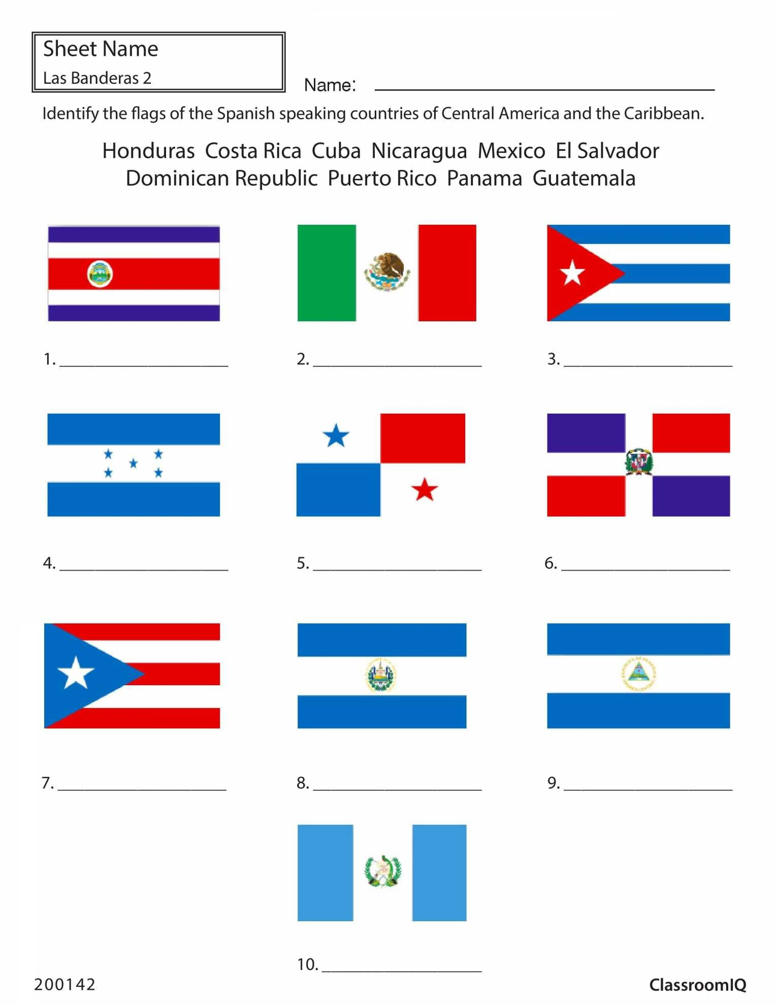 Identify Flags Of Spanish Speaking Countries  Spanishworksheet