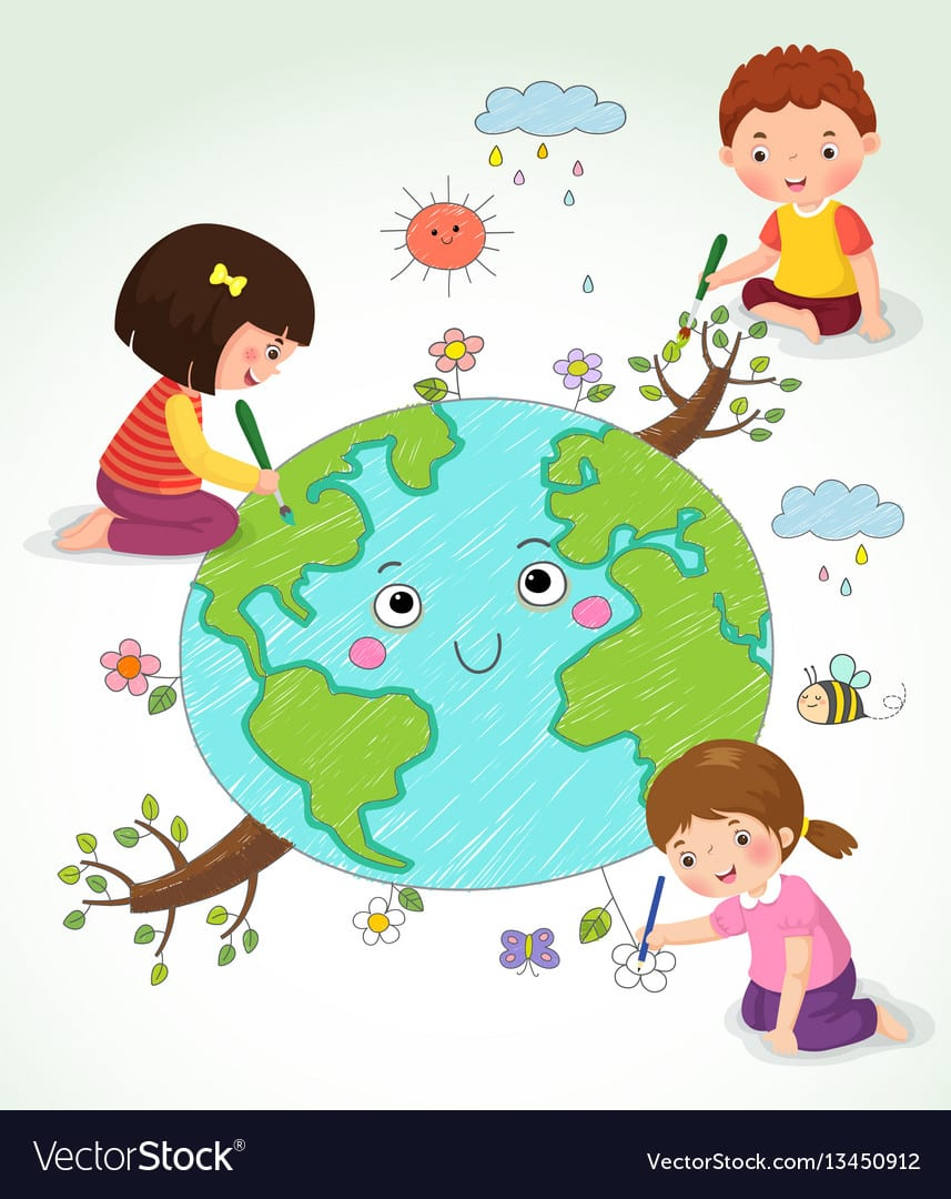 Kids Drawing The Earth Royalty Free Vector Image