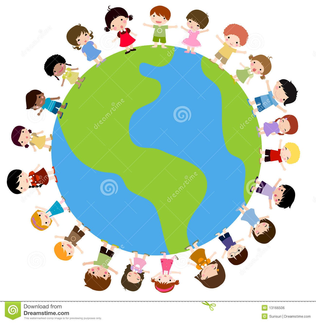 Kids And Planet Earth Stock Vector  Illustration Of Unity