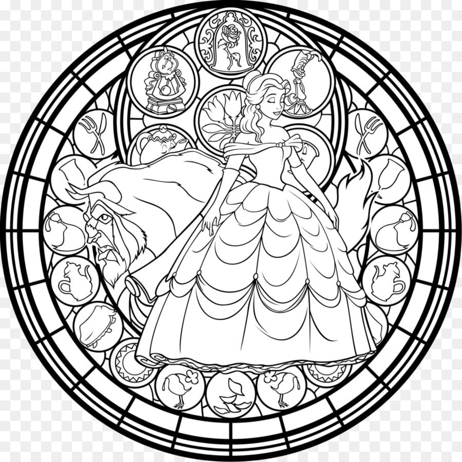 Window Stained Glass Coloring Book Belle