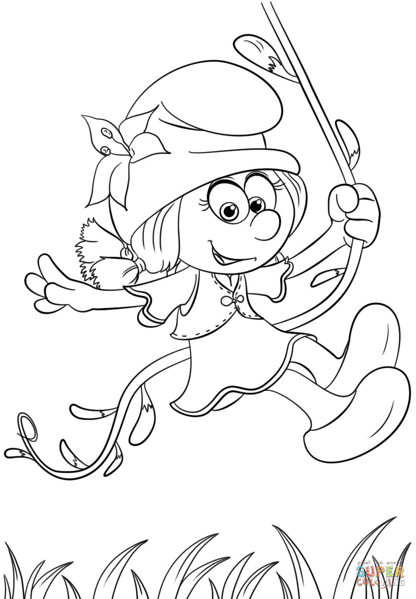Launching Smurfs Coloring Pages To Print Out Smurflily From The