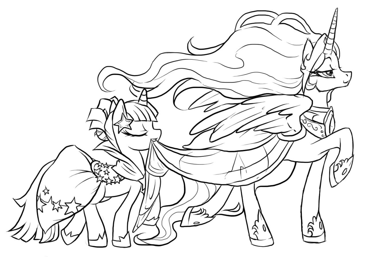 My Little Pony Coloring Pages Princess Celestia And Luna Printable