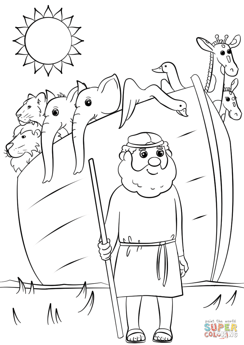 Noah's Ark Animals Two By Two Coloring Page