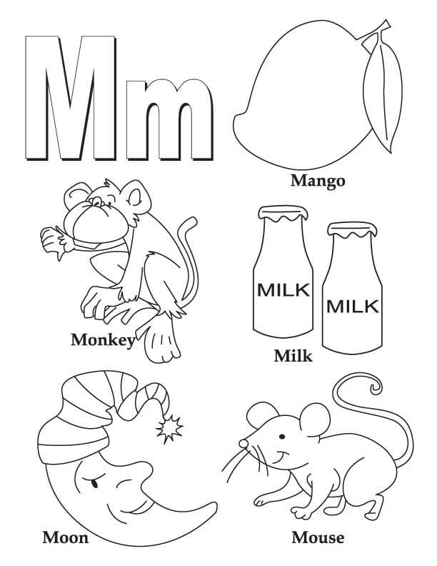 On M Coloring Page