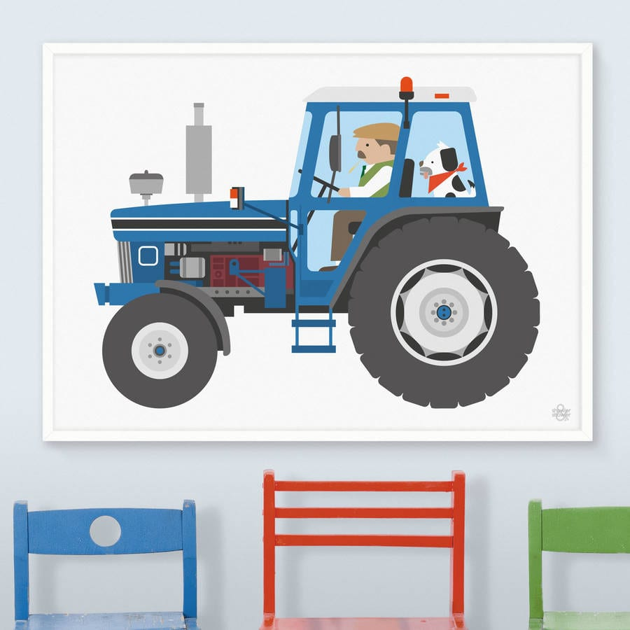 Blue Tractor Print By Showler And Showler