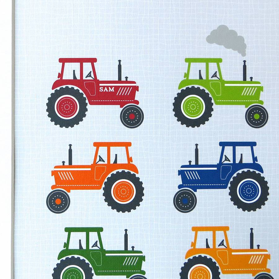 Personalised Bright Tractors Gift Print By Wink Design