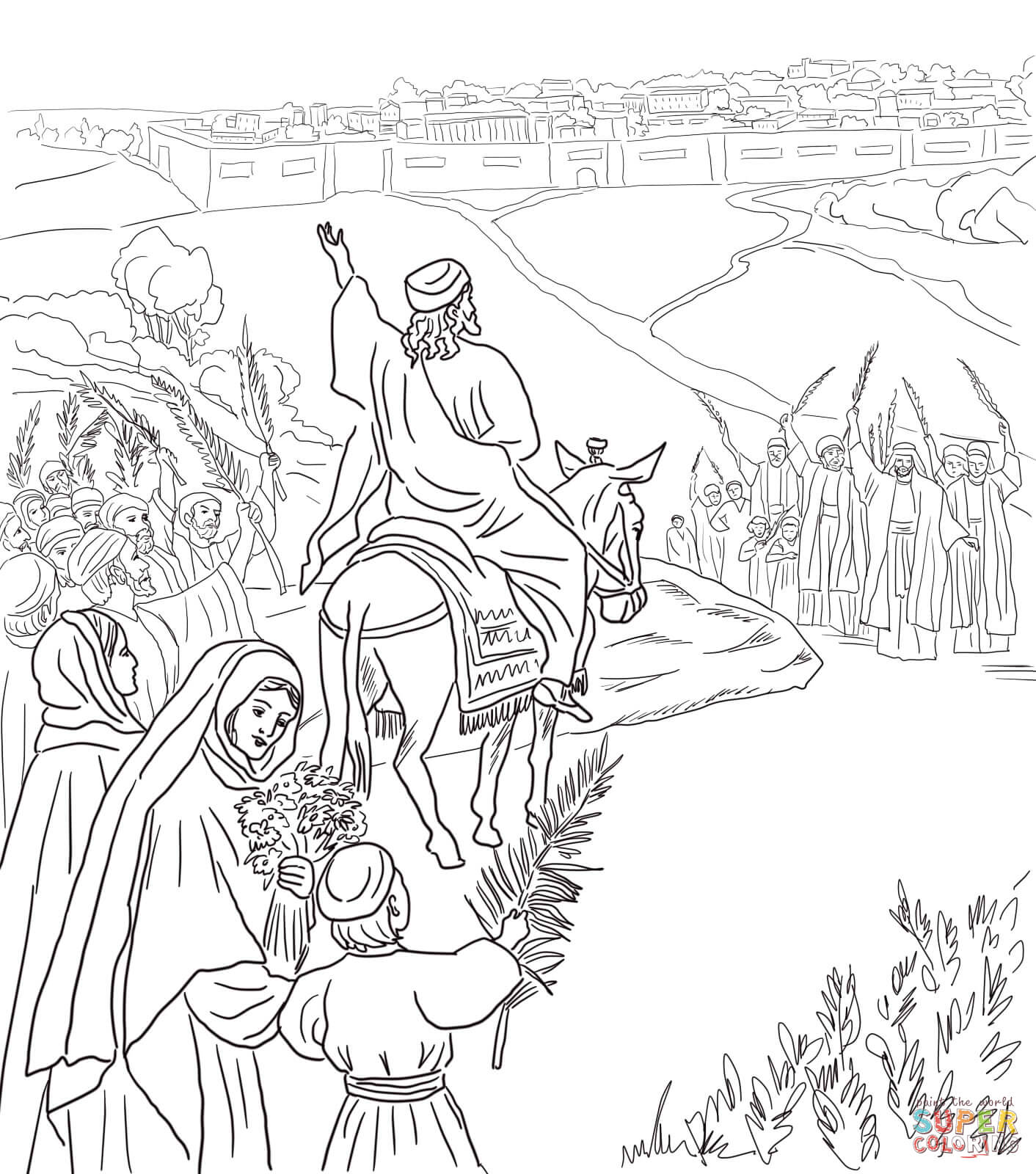 Palm Sunday Coloring Pages Free Throughout Page