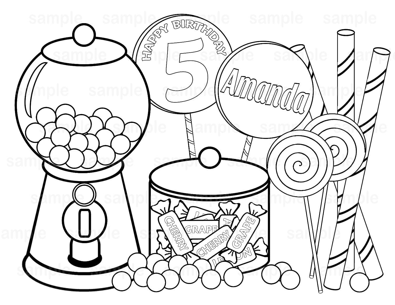 Personalized Printable Sweet Simple Candy Coloring Book 2