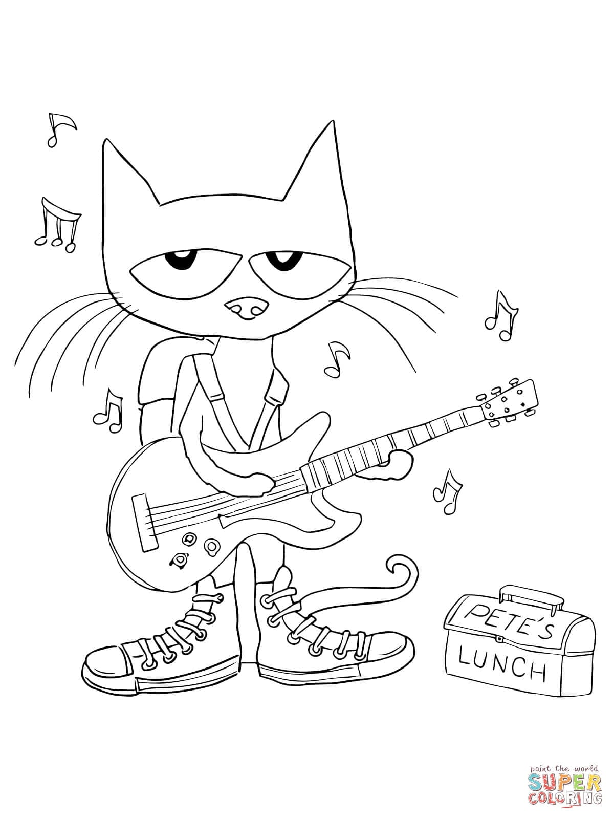 Pete The Cat Coloring Pages Free Within Page