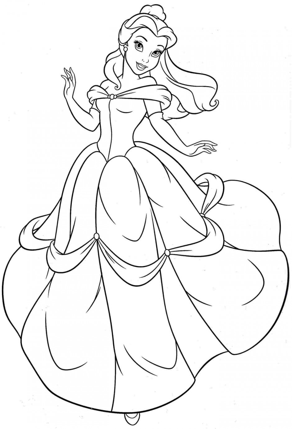 New Princess Belle Coloring Pages Gallery