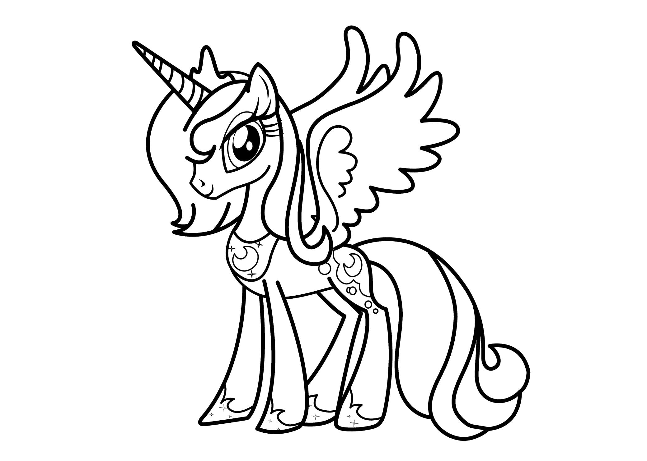 Princesse Luna Coloring Page For Girls Printable Anime Throughout